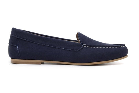 'Luisa' vegan-suede women's moccasin Ahimsa Shoes - navy