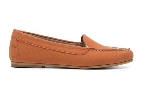 'Luisa' vegan-suede women's moccasin Ahimsa Shoes - orange - Vegan Style