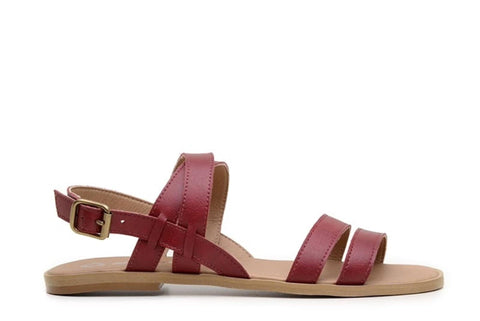 'Cristina' women's vegan sandals by Ahimsa - red