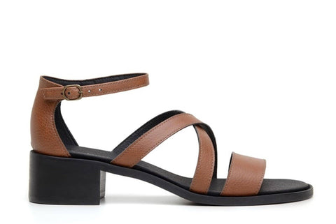 'Betina' vegan-leather low-heel by Ahimsa Shoes - brown