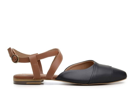 'Eliana' vegan-leather sandal by Ahimsa - black