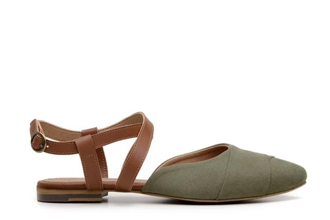 'Eliana' vegan-leather sandal by Ahimsa - dark olive