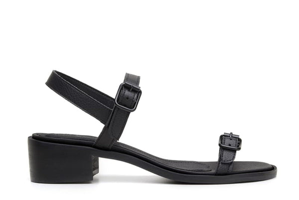 'Lucia' vegan low-heel sandal by Ahimsa - black