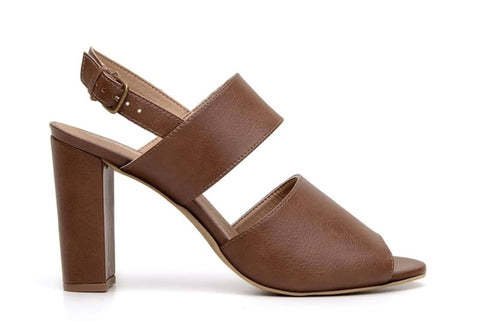 'Luciana' vegan-leather high-heel by Ahimsa Shoes - cognac