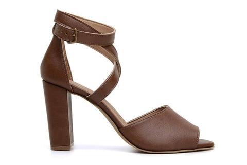 'Tatiana' vegan-leather high-heel by Ahimsa Shoes - cognac
