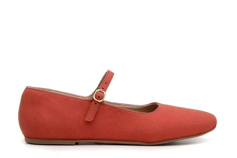 'Gabriella' vegan-suede flats by Ahimsa Shoes - red