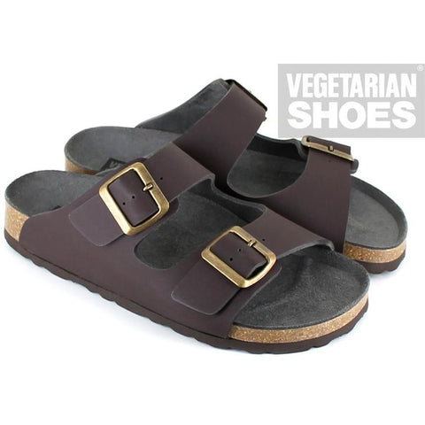 'Two Strap' Sandal (Brown) by Vegetarian Shoes