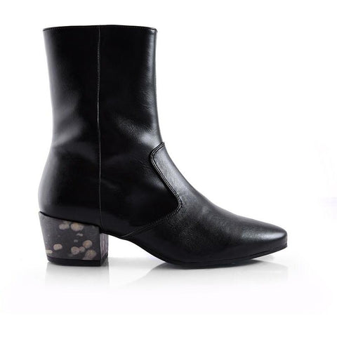 'Ana' mid-calf vegan boot by Bourgeois Boheme - black