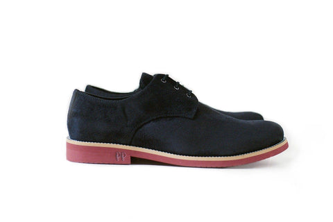 'Aponi' vegan suede derby by Good Guys - black