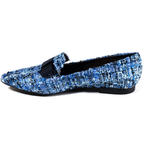 'Isabelle' pointed-toe vegan flats by Zette Shoes - blue/black