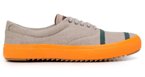 'Revenant' sneaker with vulcanised outsole by Brave Gentleman - grey/neon orange