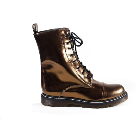 'Tabitha' metallic vegan combat boots by Zette Shoes - bronze