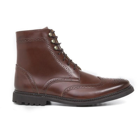 Men's Wing Tip Boots (Cognac) by Ahimsa