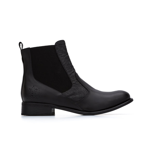 'Matilda' women's vegan Chelsea boots by Bourgeois Boheme - Black and black pinatex