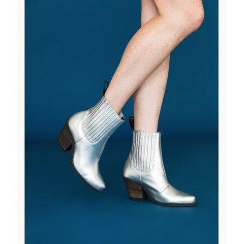 'Daisy' vegan ankle boots by Good Guys - silver