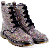 'Billie' vegan glitter boots by Zette Shoes - silver glitter