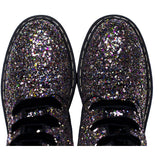 'Billie' Silver/Multicolour Glitter vegan combat boots by Zette Shoes - Vegan Style
