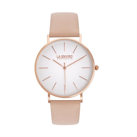 Classic 40mm rose gold watch with pink vegan-leather band by La Enviro