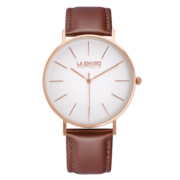 Classic 40mm rose-gold watch with brown vegan-leather band by La Enviro