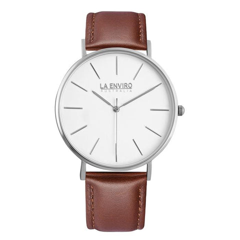 Classic 40mm silver watch with brown vegan-leather band by La Enviro