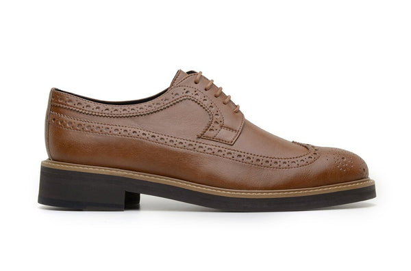 'Longwing' classic brogue in high-quality vegan leather by Brave Gentleman - tan - Vegan Style