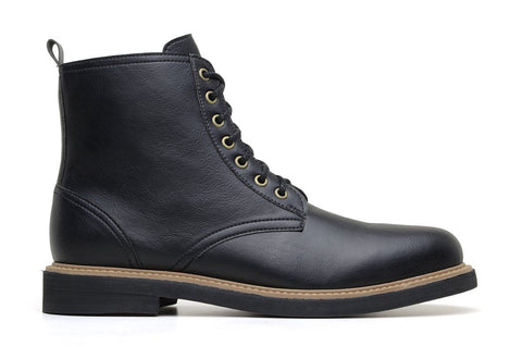 'Standard' classic lace-up boot in high-quality vegan leather by Brave Gentleman - black
