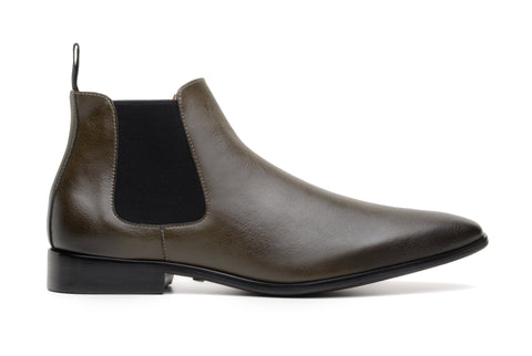 'Sterling' men's vegan Chelsea by Zette Shoes - olive