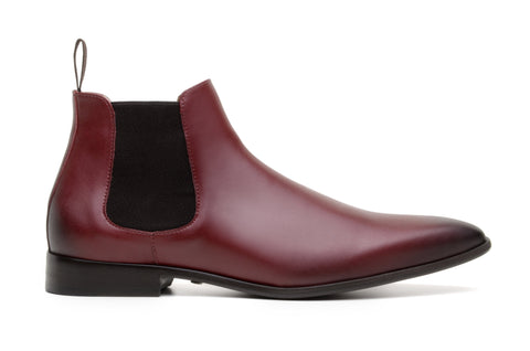 'Sterling' men's vegan Chelsea by Zette Shoes - burgundy