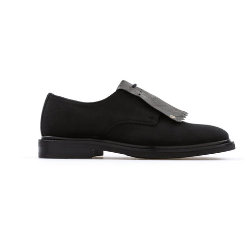 'Daniella'  vegan women's Derby by Bourgeois Boheme - black suede - Vegan Style