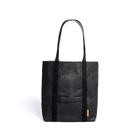 Ella washable paper vegan tote by Pretty Simple Bags - black