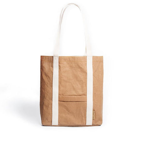 Ella washable paper vegan tote by Pretty Simple Bags - camel