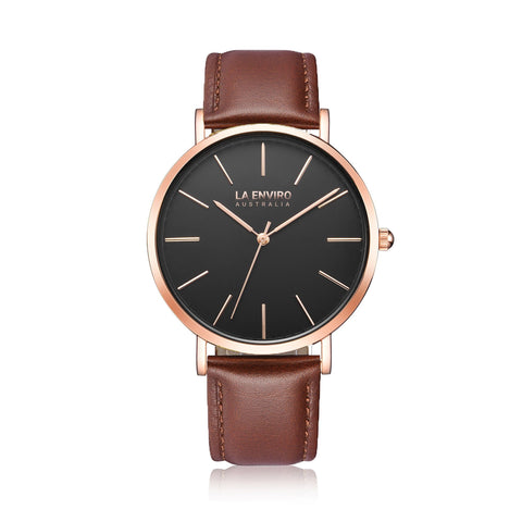 'Tierra' 40mm rose-gold watch with brown vegan-leather band by La Enviro - Vegan Style
