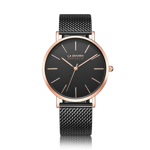 'Tierra' 40mm unisex rose-gold watch with black metallic band by La Enviro - Vegan Style