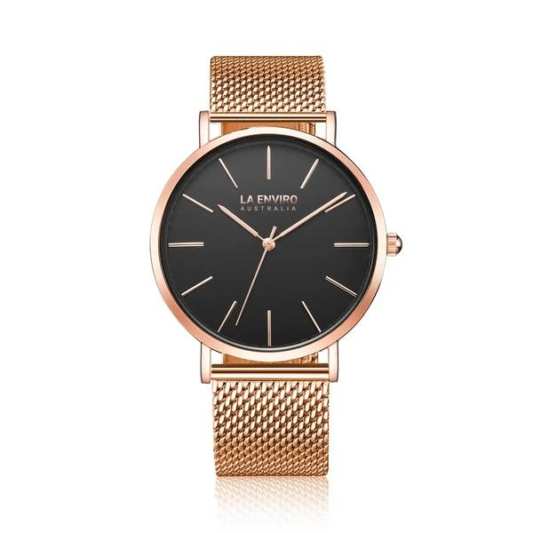 'Tierra' 40mm rose-gold watch with gold mesh band by La Enviro