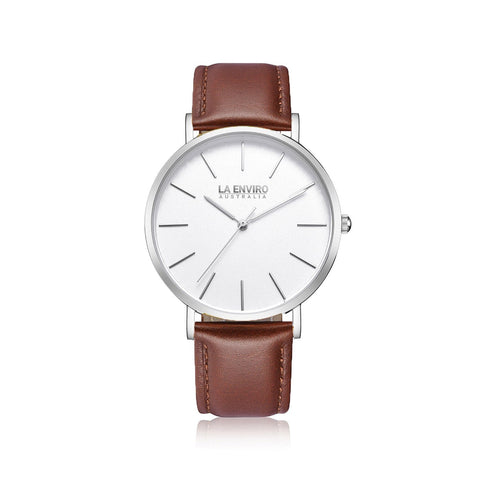 'Tierra' 40mm silver watch with brown vegan-leather band by La Enviro - Vegan Style