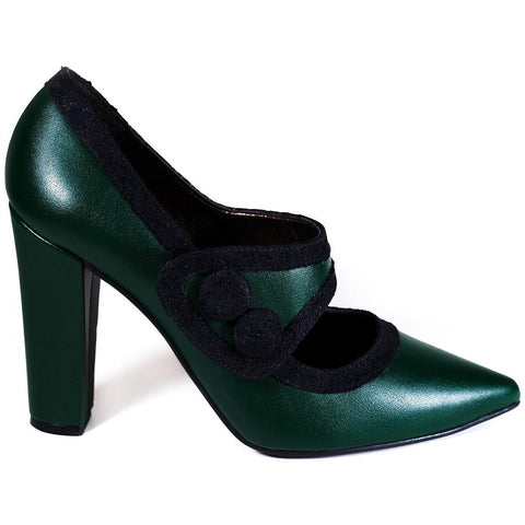 'Elektra' Mary-Jane High-Heel (Green) by Zette Shoes - Vegan Style