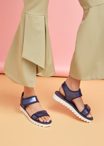 MIA // RICKI women's vegan sandal by Twoobs - navy metallic