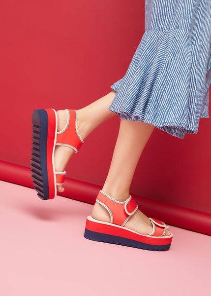 SUNNY // BRONTE women's vegan sandal by Twoobs - Red, Navy with Blush Outline