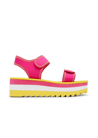 BESSIE // JANE  women's vegan sandal by Twoobs - pink, white and yellow