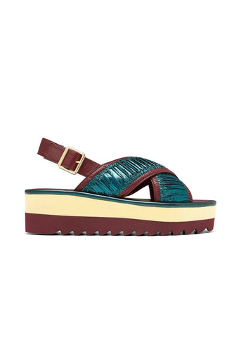 ERIKA // MIRA X women's vegan sandal by Twoobs -  emerald, merlot and eggshell - Vegan Style