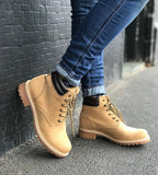 'Lennox' lace-up work boot for women by Zette Shoes - Tan
