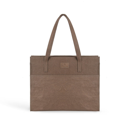 Amy vegan leather laptop handbag by Pretty Simple Bags - chocolate brown
