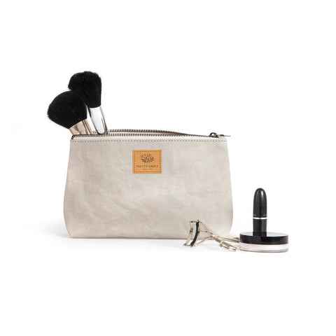 Sofia washable paper cosmetic case by Pretty Simple Bags - light grey
