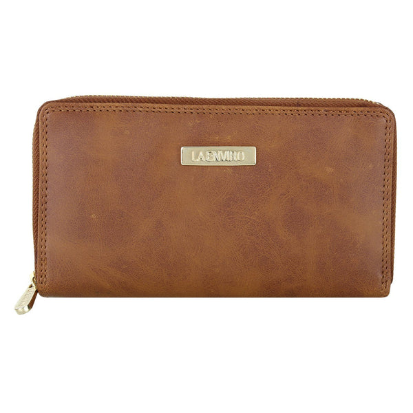 'Nia' women's brown single-zipper vegan-leather wallet by La Enviro - Vegan Style