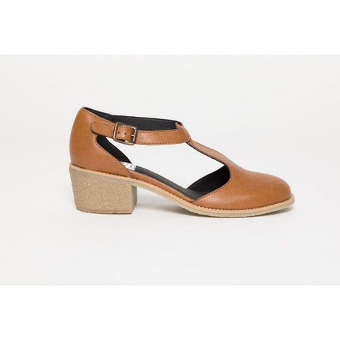 'Janet' vegan leather t-bar low-heels by Good Guys Don't Wear Leather - Chestnut
