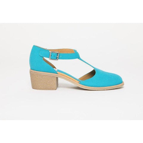 'Janet' vegan suede t-bar low-heels by Good Guys Don't Wear Leather - baby blue