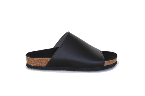 'Jenny' vegan leather slides/sandals by Good Guys Don't Wear Leather - black