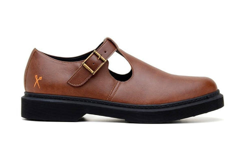 'UK Doll' matte cognac vegan T-Bar shoe by King55 - Vegan Style