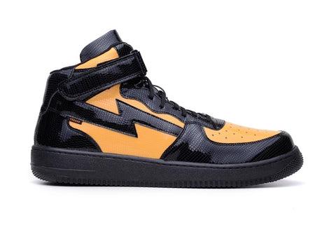 'Paramount' black and yellow vegan high-top sneaker by King55 - Vegan Style