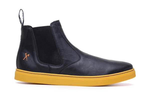 Tokio' matte black and yellow outsole chelsea boot by King 55'